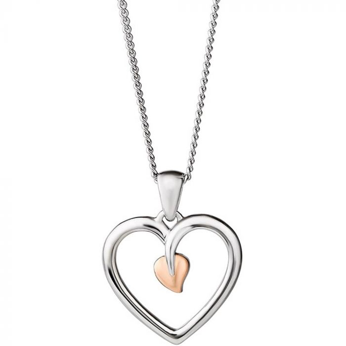 Clogau Silver and 9ct Rose Gold Tree Of Life Heart Pendant Necklace 3STLHP7