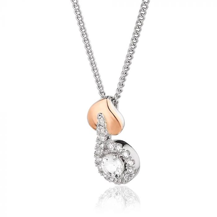 Clogau Silver and 9ct Rose Gold Tree Of Life White Topaz Vine Pendant 3STLWPVP