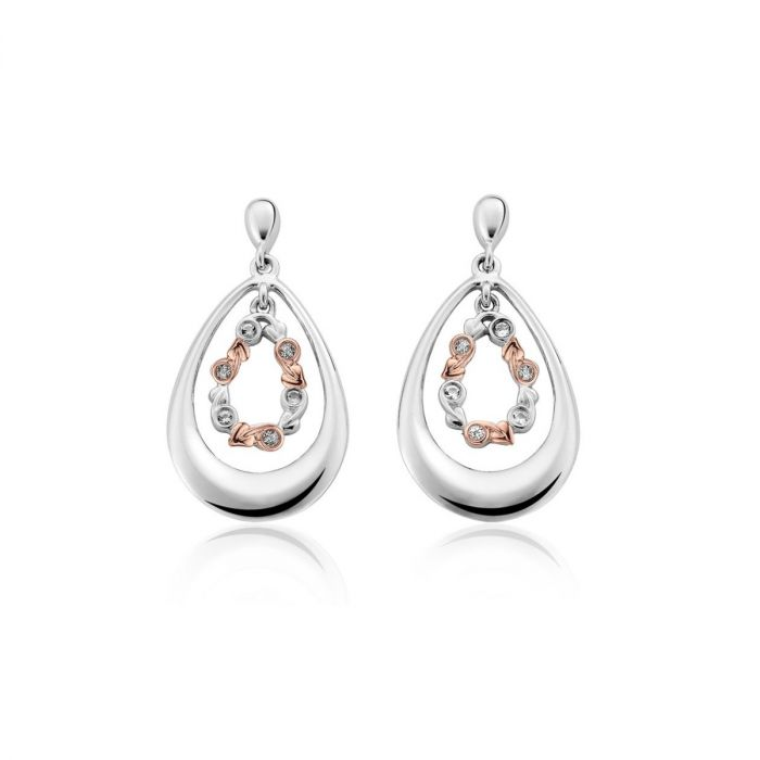 Clogau Silver and 9ct Rose Gold Tree of Life Drop Earrings 3STOLEE