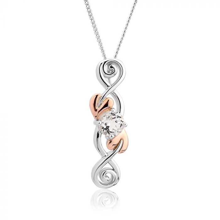Clogau Silver and 9ct Rose Gold Tree Of Life White Topaz Drop Pendant 3STOLQP