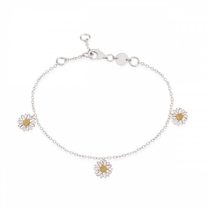Daisy Ladies Sterling Silver and 18ct Gold Plated Three Daisy Drop Bracelet BR2003