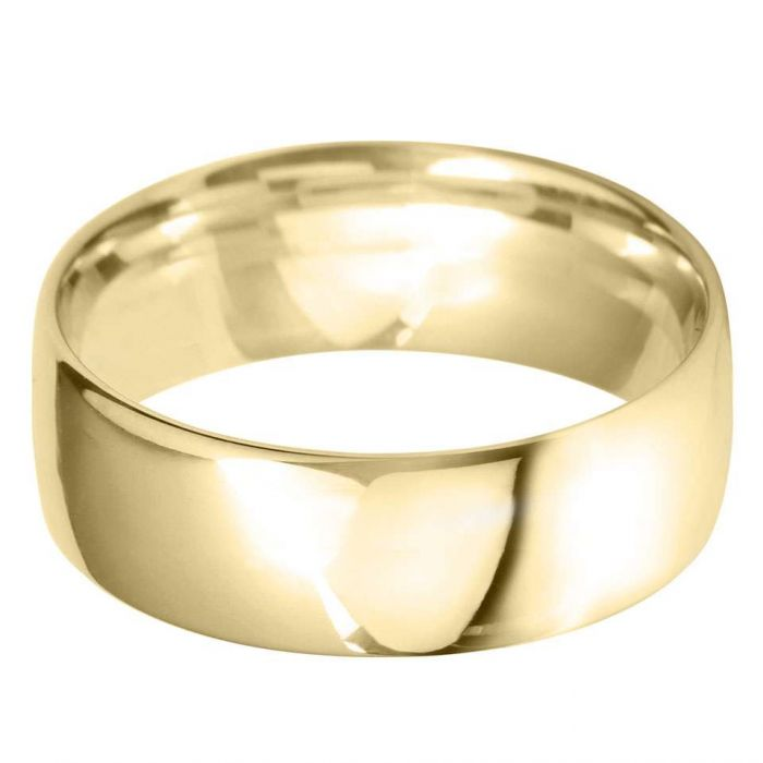 18ct Yellow Gold 8mm Heavy Court Gents Wedding Ring