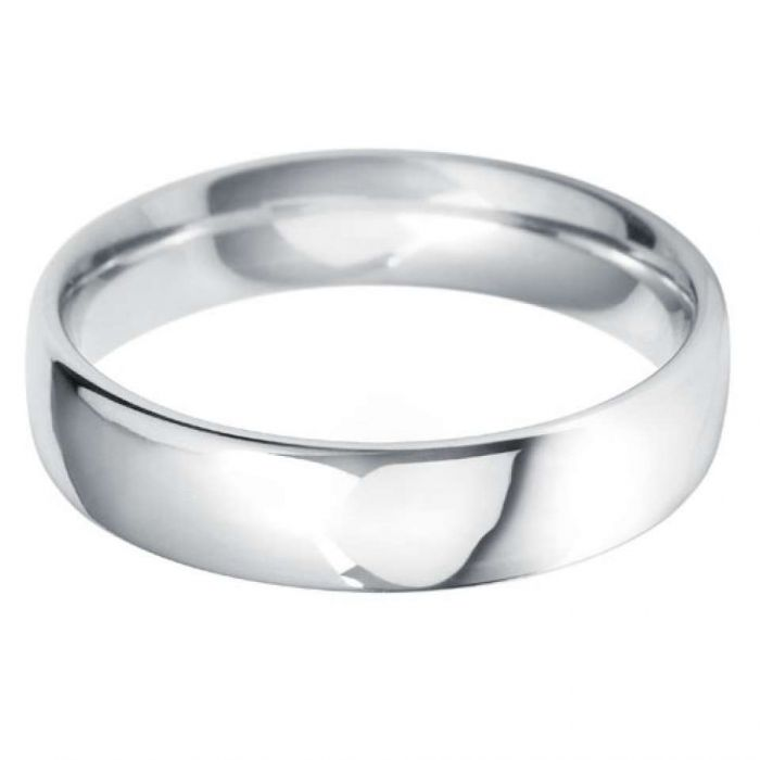 18ct White Gold 5mm Heavy Court Gents Wedding Ring