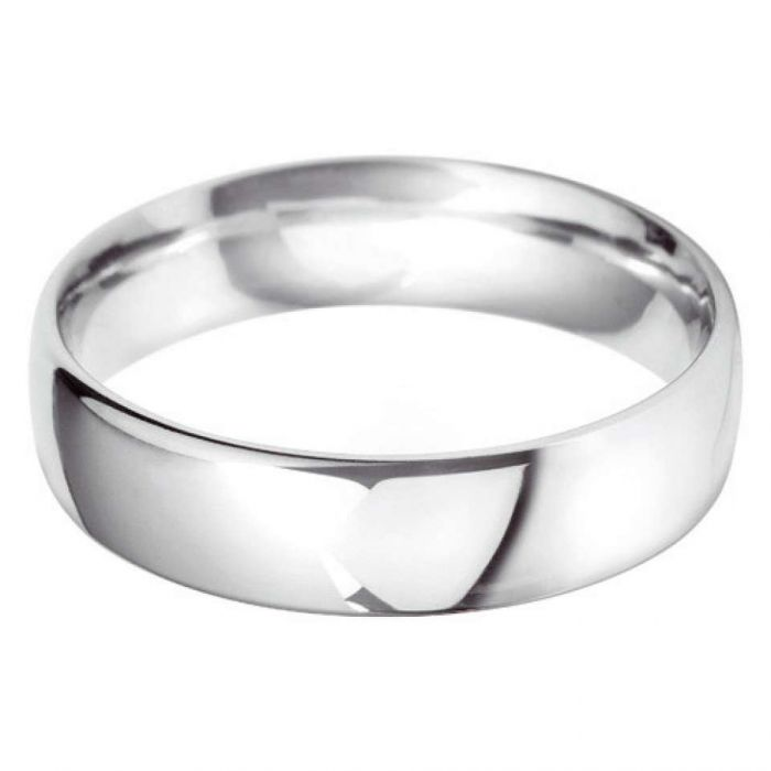 18ct White Gold 6mm Heavy Court Gents Wedding Ring