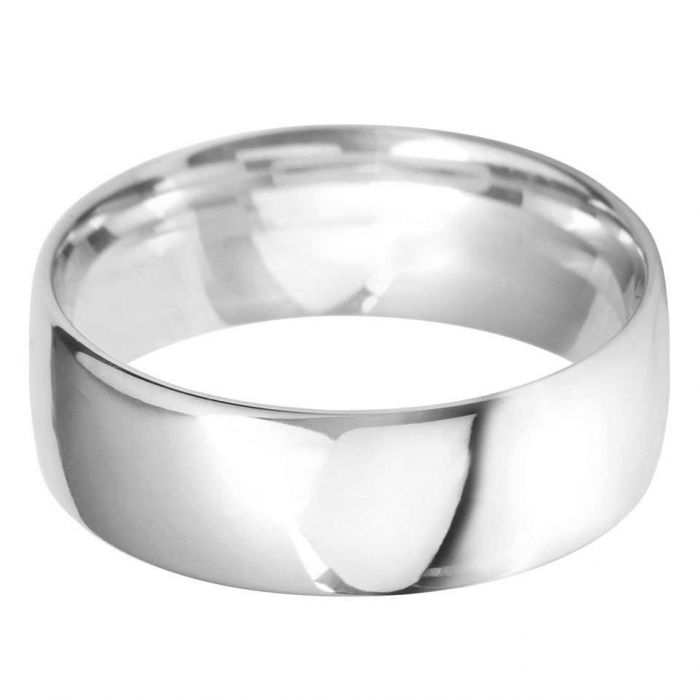 Platinum 8mm Heavy Court Gents Wedding Ring