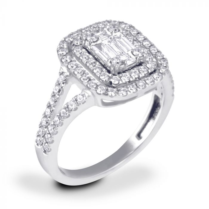 18ct White Gold 0.82ct Baguette Double Halo Diamond Dress Ring