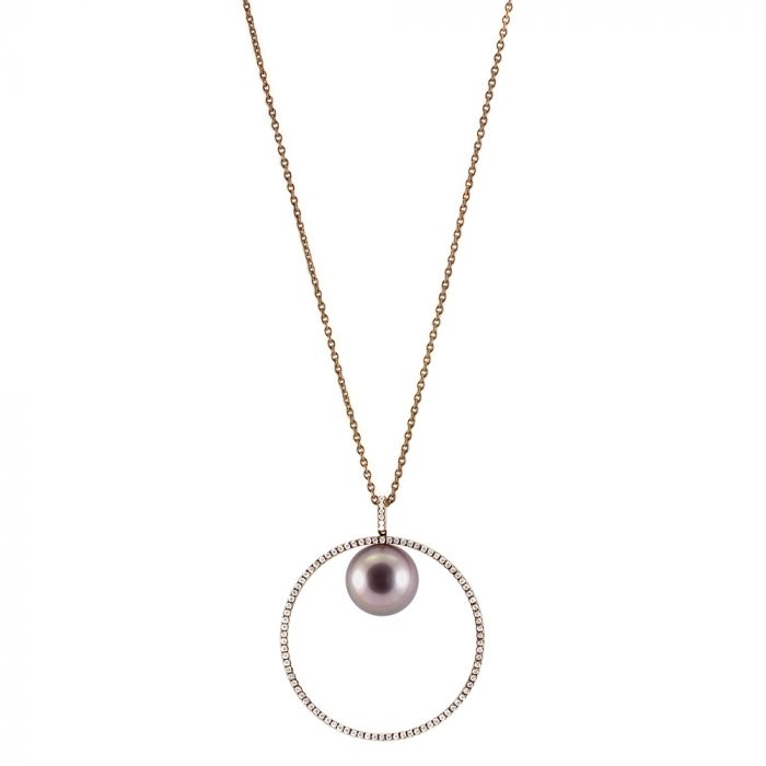 Schoeffel 18ct Rose Gold Pearl & 0.45ct Diamond Halo Pendant with Chain Main