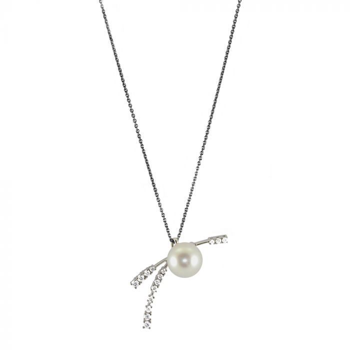 Schoeffel 18ct White Gold Pearl & 0.36ct Diamond Fancy Pendant with Chain Main