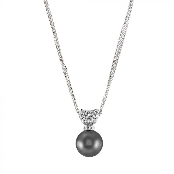 18ct White Gold 0.20ct Diamond and Tahitian Pearl Necklace SPECIAL