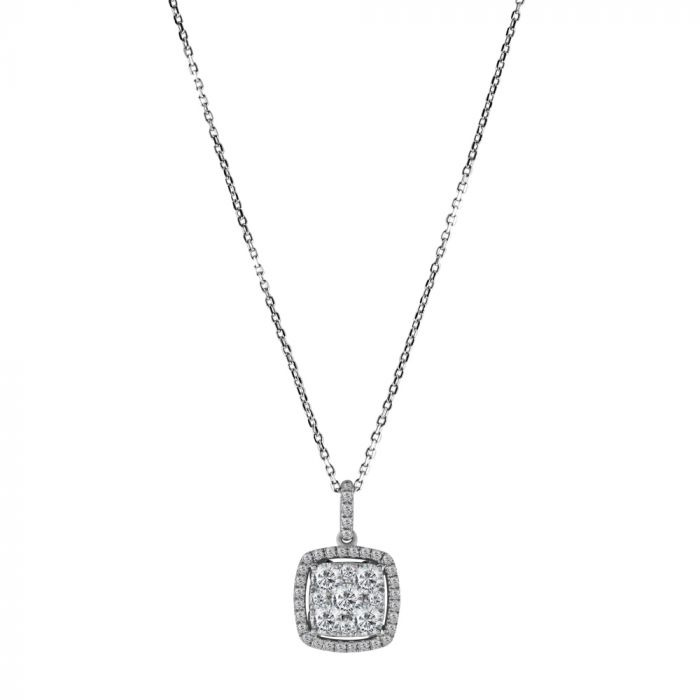 18ct White Gold 0.90ct Diamond Square Cluster Pendant with Chain Main