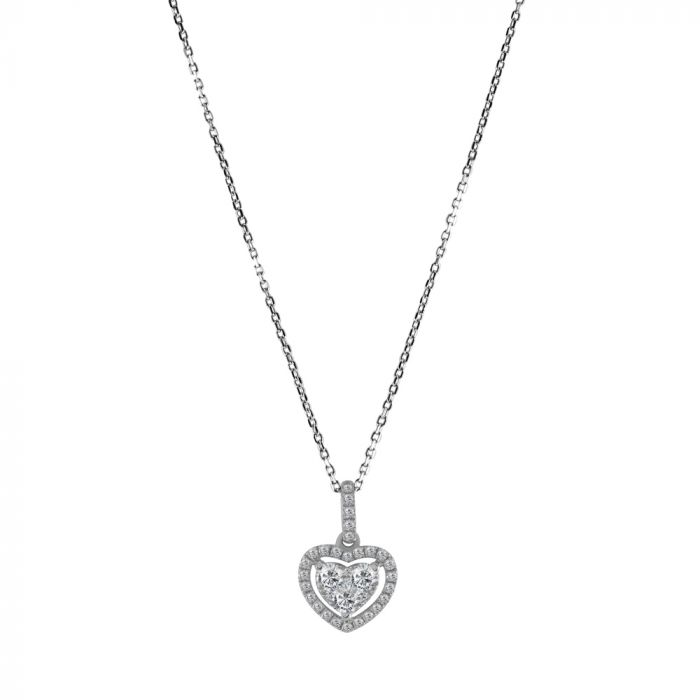 18ct White Gold 0.40ct Diamond Heart Cluster Pendant with Chain Main