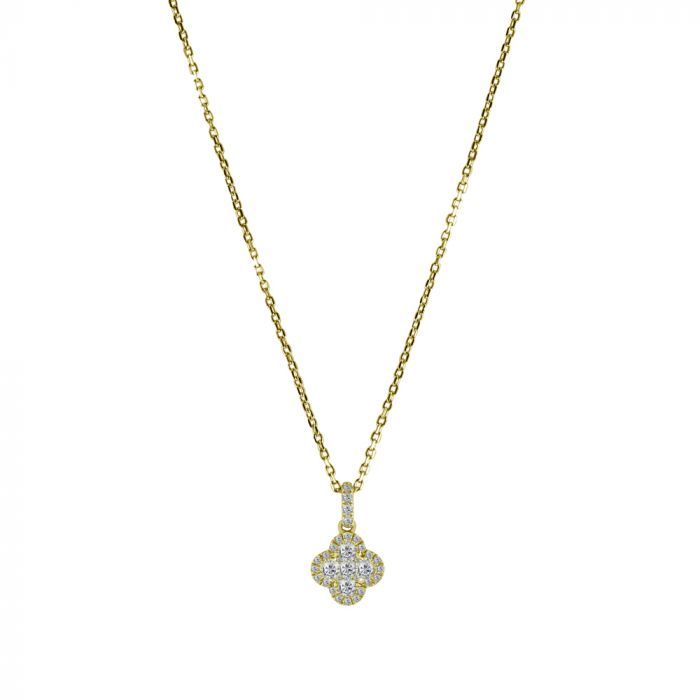 18ct Yellow Gold 0.30ct Diamond Fancy Cluster Pendant with Chain Main