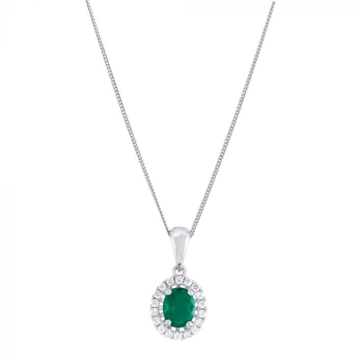 18ct White Gold Oval 0.40ct Emerald And 0.10ct Diamond Necklace