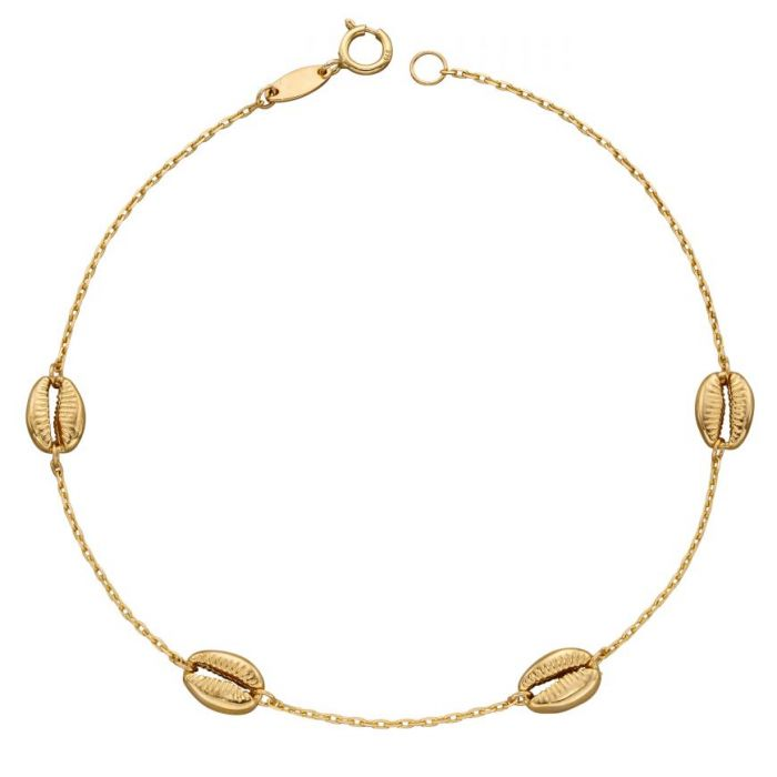 9ct Yellow Gold Cowrie Shell Bracelet GB494