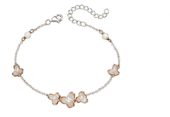 Silver and 9ct Rose Gold Pearl Flower Bracelet B5049W