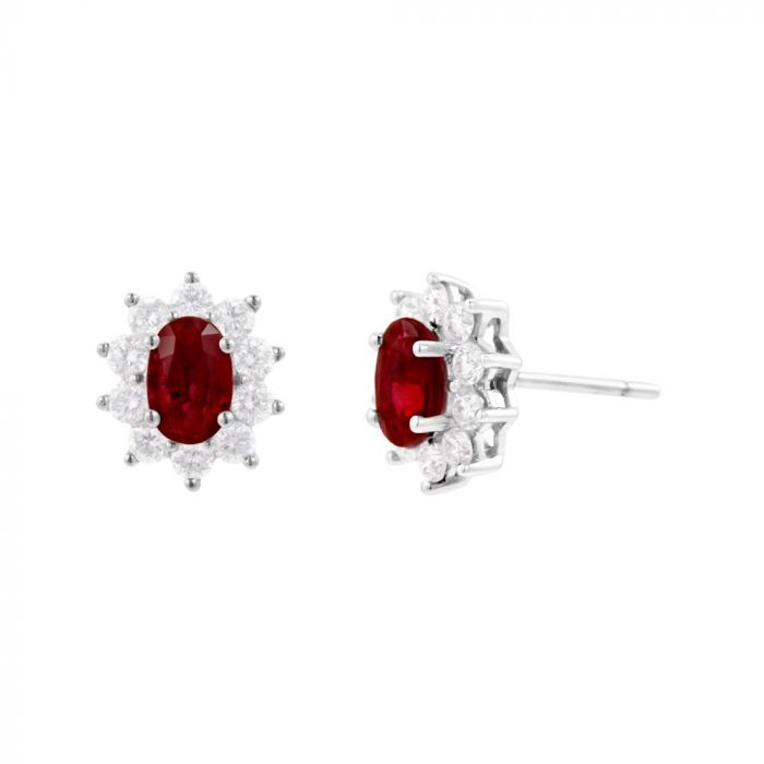 18ct White Gold 1.49ct Ruby and 0.70ct Diamond Cluster Earrings