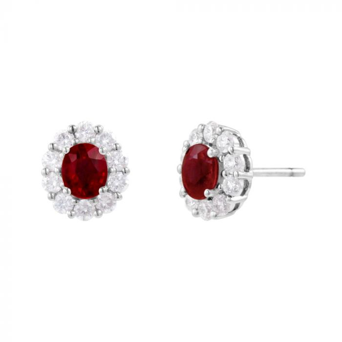 18ct White Gold 1.17ct Ruby and 0.64ct Diamond Cluster Earrings SPECIAL
