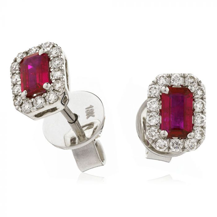 18ct White Gold 0.59ct Emerald Cut Ruby and 0.26ct Diamond Halo Earrings