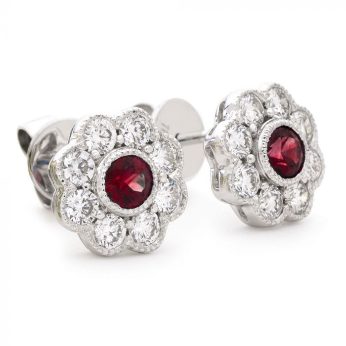 18ct White Gold 0.45ct Ruby and 0.70ct Diamond Flower Stud Earrings