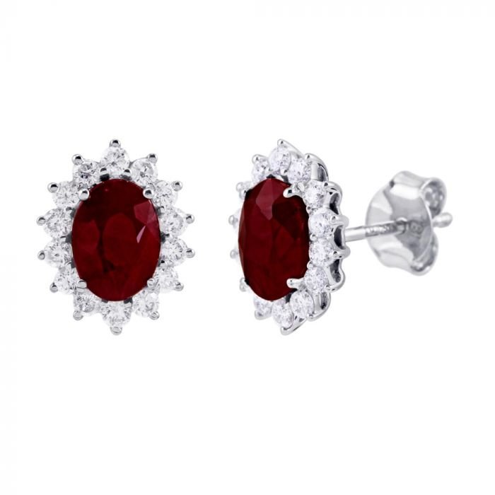 18ct White Gold 1.67ct Ruby And 0.51ct Diamond Halo Earrings SE4789(RY)