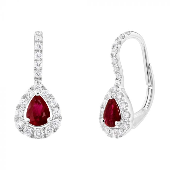 18ct White Gold 0.96ct Ruby And Diamond Drop Hook Earrings