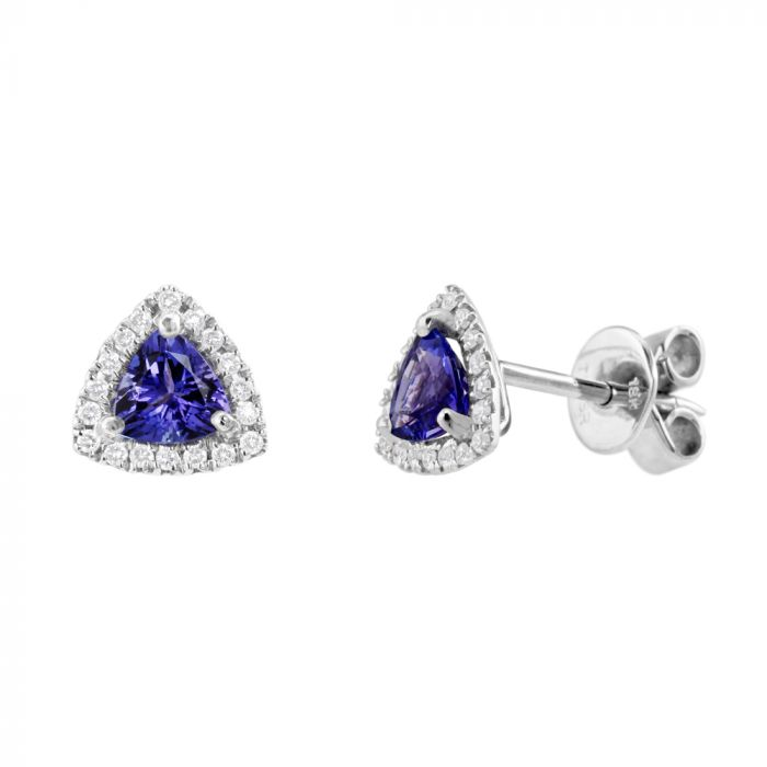 18ct White Gold 0.84ct Trillion Cut Tanzanite and 0.14ct Diamond Halo Stud Earrings SPECIAL