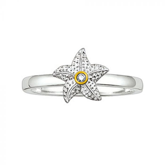 Thomas Sabo Silver And Yellow Gold Diamond Starfish Ring TR0003-179-14-52 SPECIAL