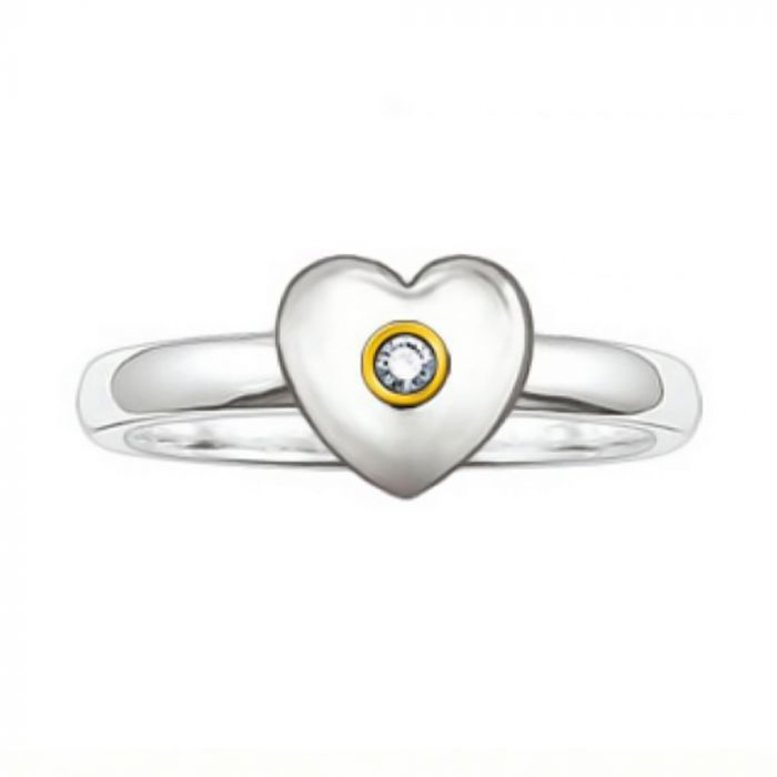 Thomas Sabo Silver and Yellow Gold Diamond Heart Ring TR0004-179-14-52 SPECIAL
