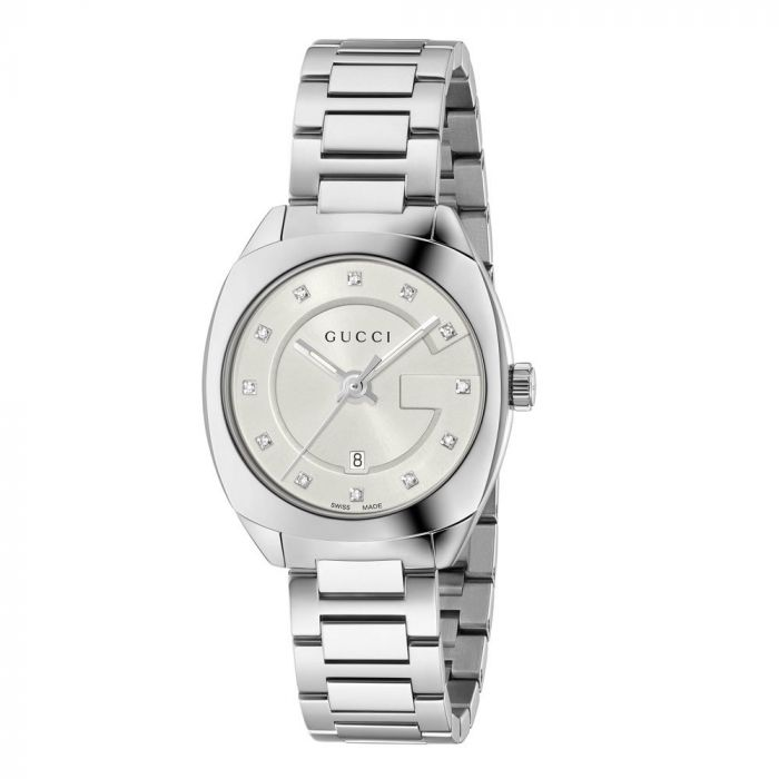 Gucci Ladies GG2570 Silver Dial Stainless Steel Diamond Watch YA142504