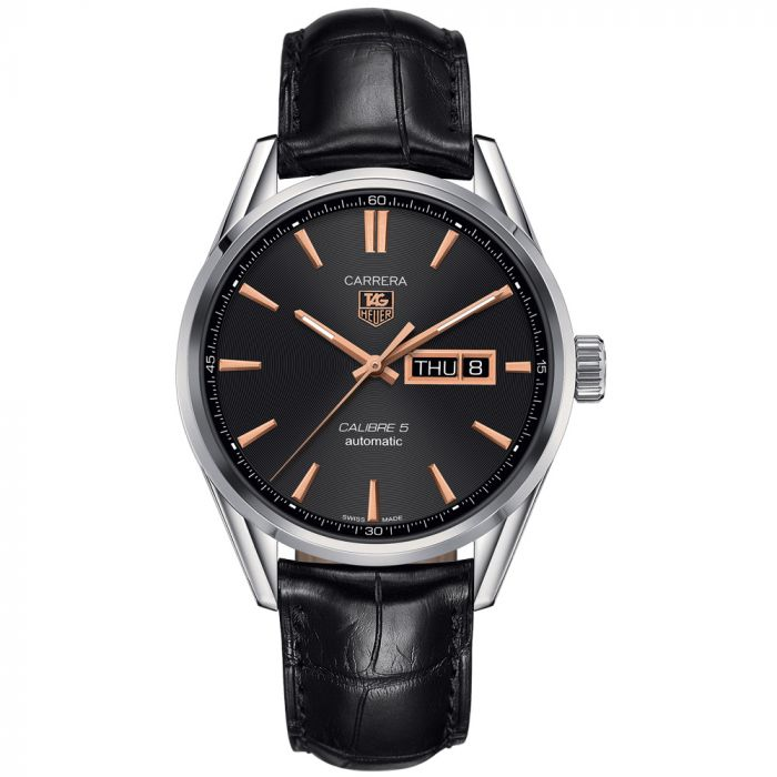 TAG Heuer Gents Carrera Automatic Day Date Black Dial Watch WAR201C.FC6266