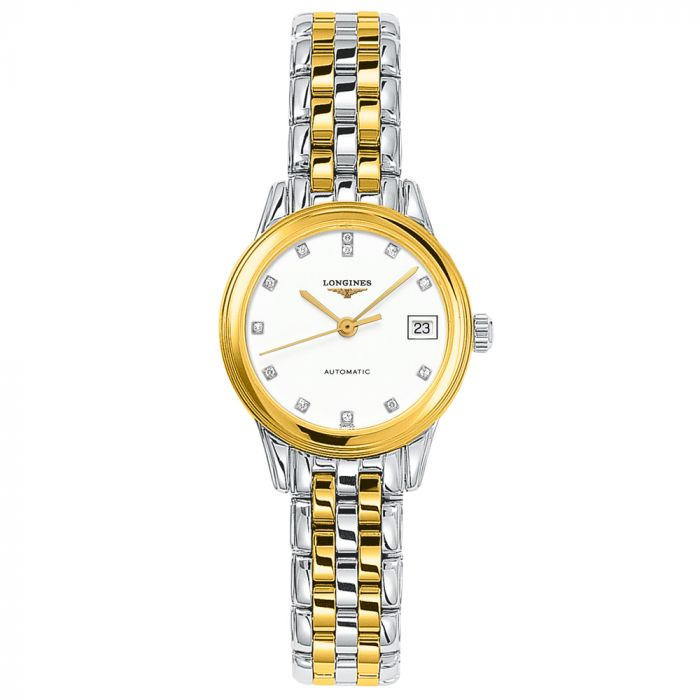 Longines Ladies Flagship Stainless Steel Two Tone Automatic Diamond Watch L42743277