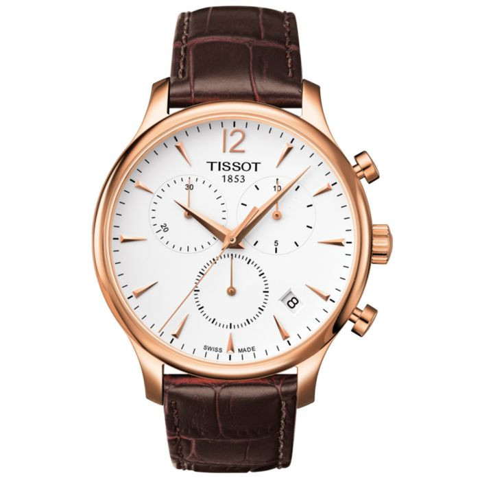 Tissot T-Classic Tradition Chronograph Gents Silver Dial Rose Gold PVD Leather Watch T0636173603700