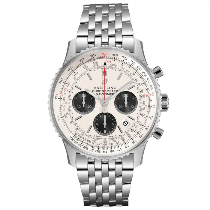 Breitling Gents Navitimer 1 B01 Chronograph Stainless Steel Watch AB0121211G1A1