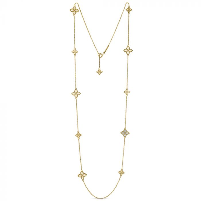 Roberto Coin 18ct Yellow Gold Diamond Princess Flower Long Chain Necklace ADR777CL0649Y