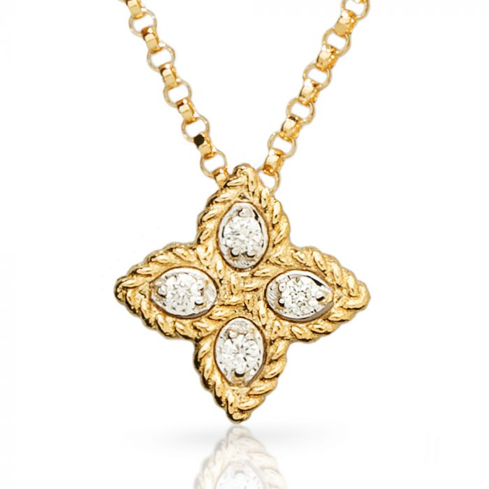 Roberto Coin 18ct Gold 0.05ct Diamond Princess Flower Necklace ADR777CL0679Y