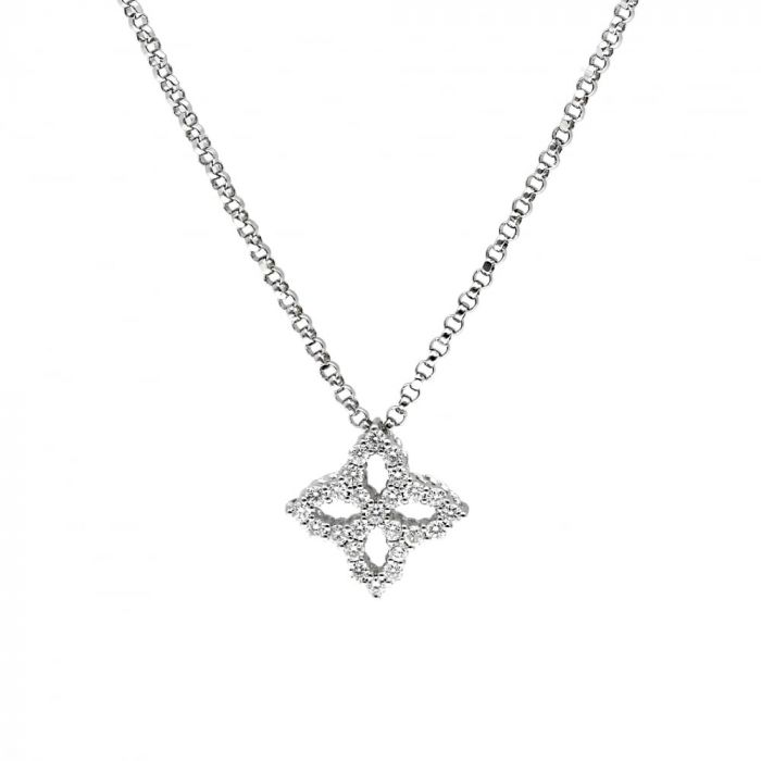 Roberto Coin 18ct White Gold 0.17ct Diamond Princess Flower Necklace ADR888CL1496