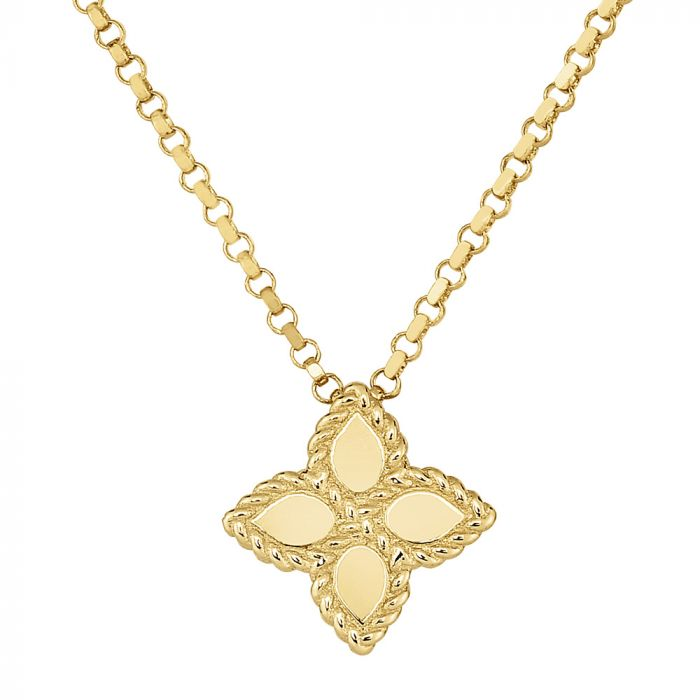 Roberto Coin 18ct Yellow Gold Princess Flower Small Necklace AR777CL0677Y