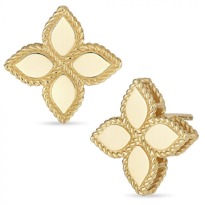 Roberto Coin 18ct Yellow Gold Princess Flower Stud Earrings AR777EA0637Y