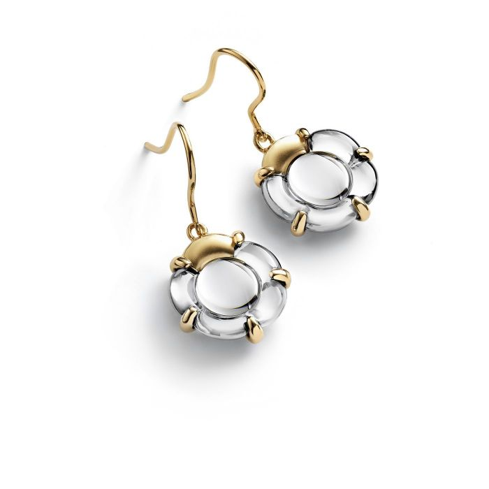 Baccarat B Flower Gold Vermeil Crystal Earrings 2803382 SPECIAL