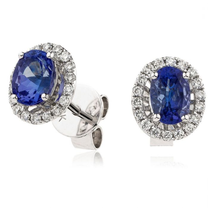 18ct White Gold 0.75ct Oval Sapphire and 0.15ct Diamond Halo Stud Earrings
