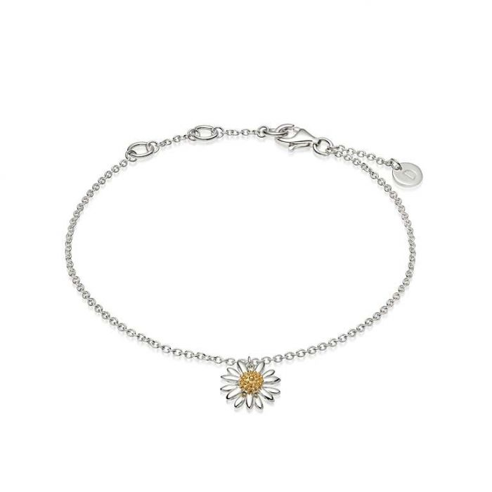 Daisy Ladies English Sterling Silver and 18ct Gold Plated Daisy Drop Bracelet BR2011