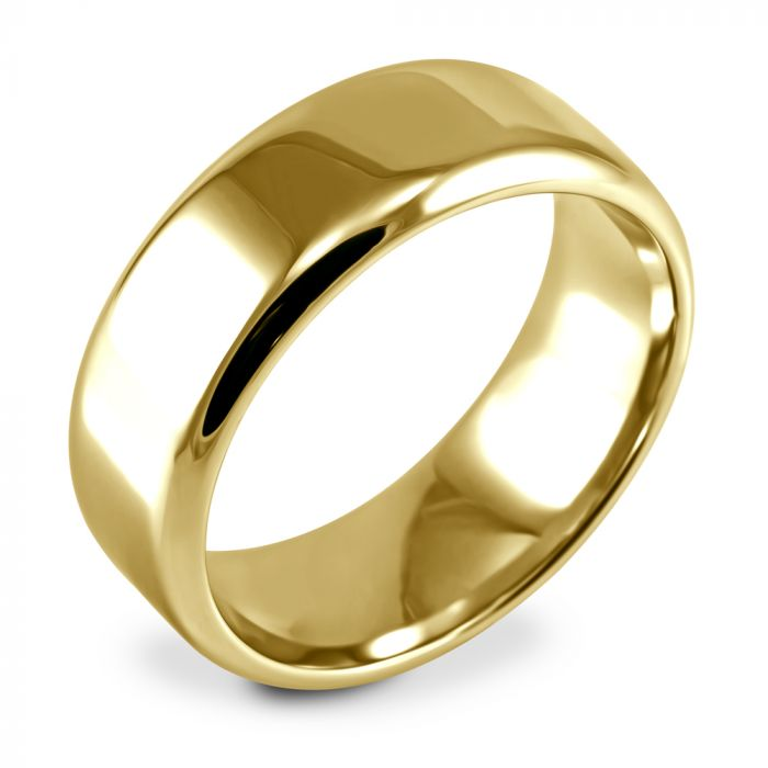 18ct Yellow Gold 8mm Soft Flat Court Wedding Ring Side Closeup