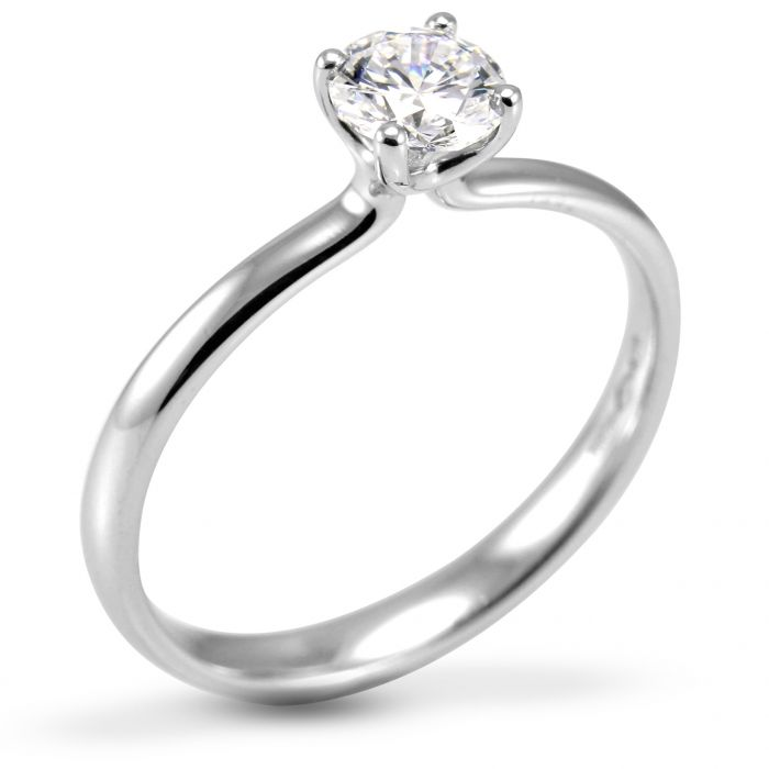 The Clover Platinum Round Brilliant Diamond Engagement Ring
