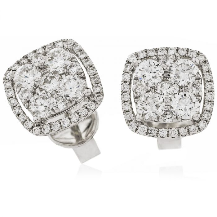 18ct White Gold 1ct Diamond Square Halo Stud Earrings