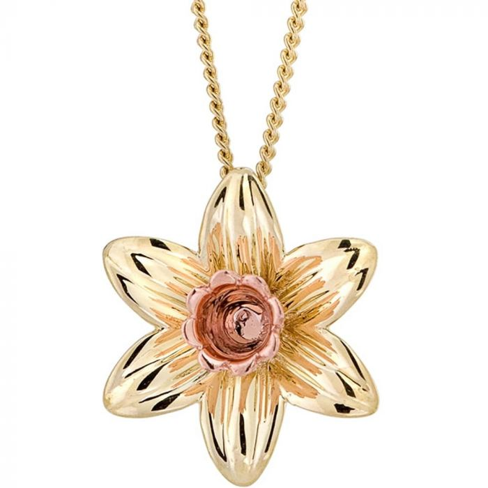 Clogau 9ct Two Tone Gold Gold Daffodil Pendant Necklace DP3