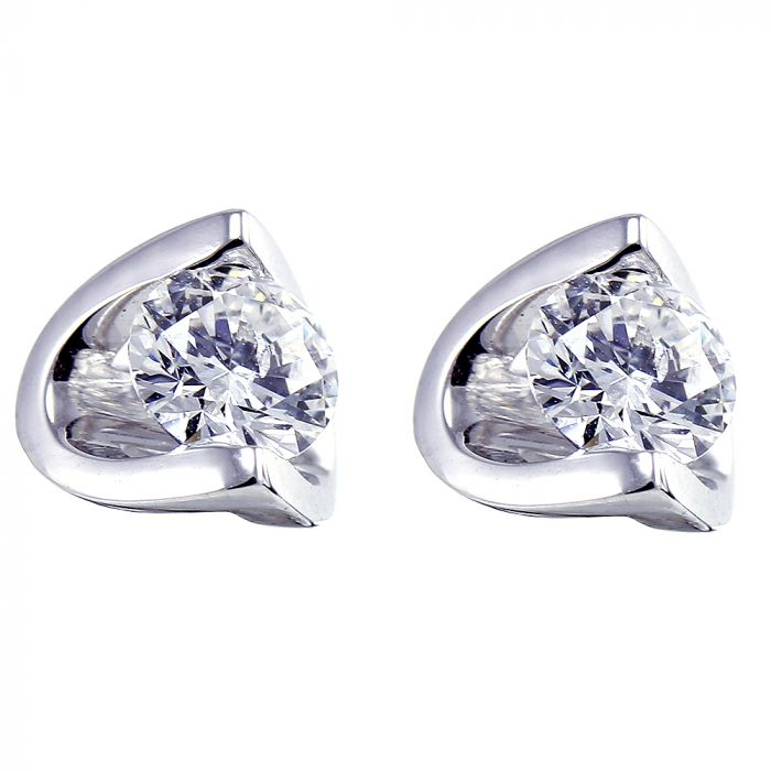 18ct White Gold 0.40ct Diamond Eclipse Stud Earrings