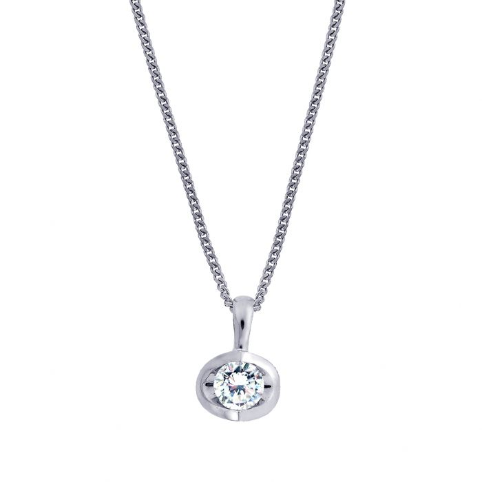 18ct White Gold 0.40ct Diamond Eclipse Necklace