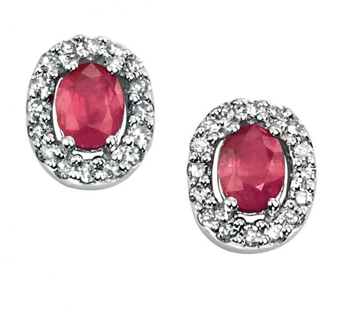 9ct White Gold Oval Ruby And Diamond Cluster Studs Earrings GE703R