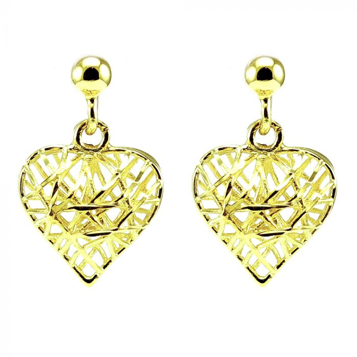9ct Yellow Gold Caged Heart Earrings GE841