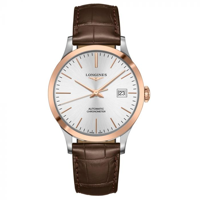 Longines Gents Record Collection Rose Gold & Stainless Steel Automatic Watch L28215722